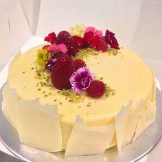 almond dacquoise • raspberry jelly • raspberry rose cremeux • vanilla white chocolate mousse •