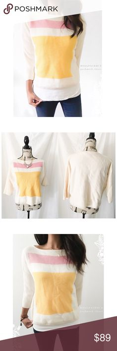 """ST. John Yellow Pink & Cream Sweater This soft sweater has a thicker stretchy knit with a wide neck & quarter inch style sleeves. It has a preppy classic feel that's timeless. {actual color of item may vary slightly from pics}  *chest:22.5"""" *waist:22.5"""" *length:20"""" *sleeves:18.5"""" *material/care:100%wool/dry clean  *fit:slightly cropped  *condition:good no rips/stains/balling   🌸20% off bundles of 3/more items 🌸No Trades  🌸NO HOLDS 🌸No transactions outside Poshmark  🌸No lowball offers…"""