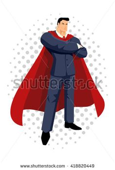Cartoon illustration of a super businessman, superhero - stock vector, cartoon