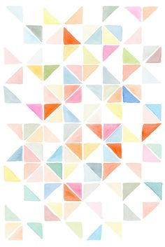 MULTI TRIANGLES I- LIGHT ORANGE & BLUE Art Print