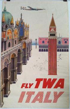 TWA Airlines Poster Italy David Klein Constellation | eBay