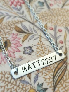 Custom, Hand Stamped Mother's Necklace - Single Horizontal Bar
