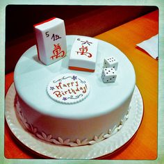 A mahjong cake! I chose the numbers 5 and 6 for the blocks and dice because the celebrant turned 56. #Mahjong