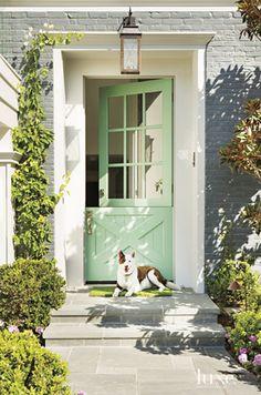 Mint Green Dutch Door – Pretty Gray Painted Brick House Previous Post Next Post Best Front Doors, The Doors, Front Door Paint Colors, Painted Front Doors, Paint Colours, Pintura Exterior, Cape Cod Style, Entrance Decor, Entrance Ideas