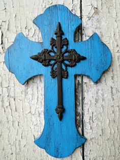 Large Wooden Distressed Cross in Blue Turquoise - Please visit their shop - http://www.etsy.com/shop/MagnoliaMarket