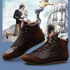 9da11ff84a135 UJ Casual Shoes Lace-up Man Ankle Boots Fashion Comfortable Outdoor  Sports-Dark Brown