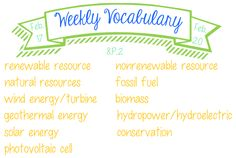 Weekly Vocabulary - 8.P.2 - Energy Resources - Feb 17