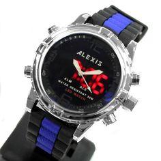 AW801A baggrundsbelysning Vand Modstå silikone Black Band Mænd Kvinder Analog Digital Watch