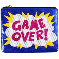 Clutch is made from new super realistic nappa hyde style leather in metallic blue, explosion in patent white/glitter hi-shine, pink glitter writing and vegan leather yellow sparks. Clutch is lined in
