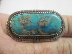 Vintage Old Pawn Sterling Silver Turquoise Ring With Silver Veins In The Stone