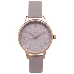 Olivia Burton Modern Vintage Midi Dial Watch - Grey, Lilac & Rose Gold ($100) ❤ liked on Polyvore featuring jewelry, watches, gray watches, leather-strap watches, pink gold jewelry, grey watches and retro jewelry