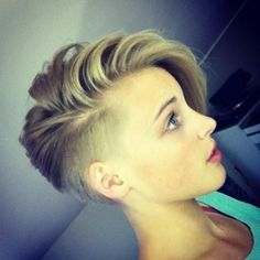 Short Shaved Pixie Haircuts Short Pixie Hairstyle with Side Bangs: Girls Short Haircuts Via If you liked this pin, click now for more details. Side Bangs Hairstyles, Undercut Hairstyles, Pixie Hairstyles, Undercut Pixie, Hairstyles 2016, Female Hairstyles, Asymmetrical Hairstyles, Girls Shaved Hairstyles, Hair Bangs