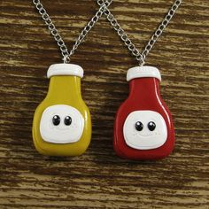Best Friends Necklace Set - Ketchup and Mustard. $32.00, via Etsy.
