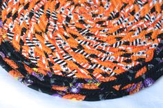 "Halloween Table Runner, Handmade Halloween Trivet, 10"" Homemade Place Mat, Lovely Black and Orange Table Topper, Hot Pad by WexfordTreasures on Etsy"
