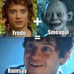 Ramsay is smeagol and frodos lovechild! Makes so much sense! #gameofthrones #got #fantheory #lordoftherings