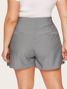 To find out about the Plus Striped Button Front Shorts at SHEIN, part of our latest Plus Size Shorts ready to shop online today! Plus Size Shorts, Grey Pattern, Striped Shorts, Autumn Summer, Fashion News, Casual, Thighs, Short Dresses, Autumn Fashion