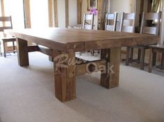 A chunky, rustic-looking H base dining table to spruce up any dining room. Buy online or contact us for more information on this product.