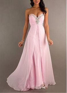 Pink Chiffon A-line Long Strapless Sweetheart Full Length Beaded Formal Dress