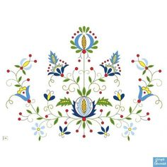Embroidery Pattern of Kashubian embroidery pattern at .pl (THIS LINK WOULD NOT LOAD) jwt Polish Embroidery, Folk Embroidery, Hand Embroidery Patterns, Cross Stitch Embroidery, Embroidery Designs, Folk Art Flowers, Flower Art, Illustration Blume, Scandinavian Folk Art