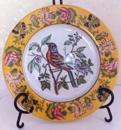 """Hand Painted Mark Roberts Ceramic Decorative Floral Red Black Bird Plate 10+"""""""