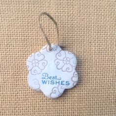 Best wishes clay ornament by flowercraftsboutique on Etsy