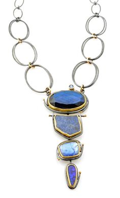 Sydney Lynch - Indigo Cascade necklace: labradorite, sapphire slice, tanzanite, Boulder opal, set in 18k and 22k gold and oxidized silver