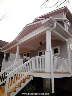 look I want with front porch.  Only need 3 stairs but this is the idea...