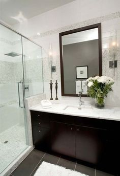 shower next to vanity