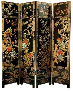 Ornately hand-painted wood frames create the Oriental Furniture 6 ft. Four Seasons Flowers Room Divider , drawing inspiration from classical Asian. 4 Panel Room Divider, Wood Room Divider, Room Dividers, Decorative Screens, Decorative Items, Asian Room, Floor Screen, Lacquer Furniture, Furniture Decor