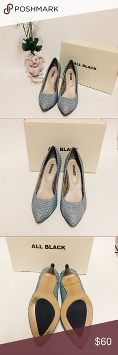 Gray fish scale pump by All Black from Nordstrom Gently used gray fish scale pumps by All Black great condition only wear is on the bottoms as pictured above beautiful texture with a light almost paper like feel. All Black Shoes Heels