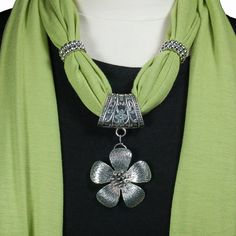 Bright Lime Jewelry Scarf with Silver Flower Pendant by AzanteDesigns, $22.95