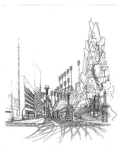 1990-Atlanta Cometition,USA,SPECIAL MERIT,CONCEPTUAL ARCHITECTURAL DESIGN AND FREEHAND DRAWING BY ANDREW LUDEW