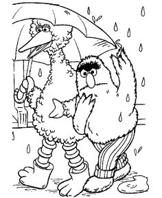 Sesame Street coloring pages - Walk in the rain