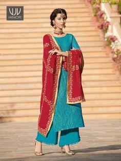 Stylish Blue Color Jacquard Designer Palazzo Suit Kurta Palazzo, Palazzo Suit, Costumes Bleus, Bright Blue Suit, Indian Party Wear, Red Chiffon, Anarkali Dress, Western Outfits, Silk
