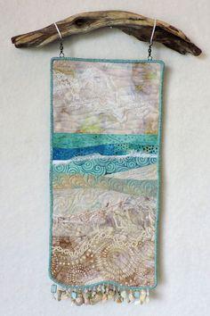 Fiber Art Quilts-Allure of the Sea Ocean Quilt, Beach Quilt, Fabric Art, Fabric Crafts, Fiber Art Quilts, Landscape Art Quilts, String Quilts, Fabric Pictures, Small Quilts