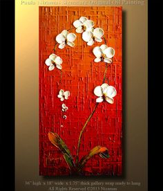"""Orchid Original Contemporary Textured Oil Floral Painting on canvas by P. Nizamas 36"""" ready to hang calm earth tones"""