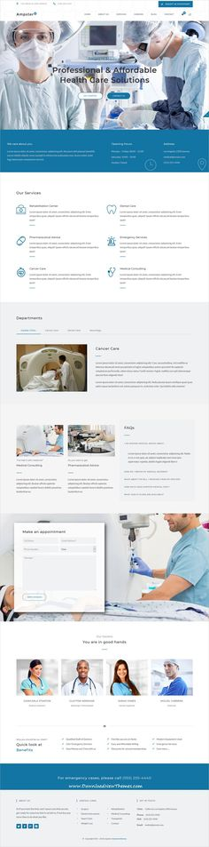 Ampster is a clean and modern design responsive multipurpose #WordPress theme for #medical and #healthcare centers website with 58+ niche homepage layouts to download & live preview click on image or Visit #webdesign