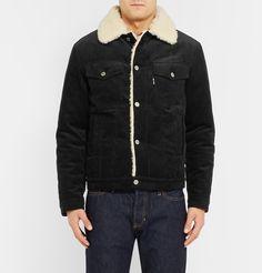 Maison Kitsuné - Slim-Fit Faux Shearling-Trimmed Cotton-Corduroy Jacket