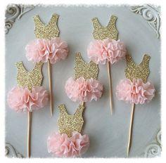 Gold Glitter Ballerina Tutu Cupcake Toppers Birthday por JeanKnee