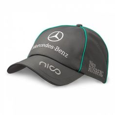 Official Mercedes AMG Petronas Merchandise for the 2012 F1 season.    Nico Rosberg 2012 Cap    Dark Grey design.    Get behind Nico Rosberg and the Mercedes GP team this season by wearing this fabulous Rosberg cap for 2012. This cap has a simple design with stylish grey panels, Petronas Turqouise detailing, Mercedes Benz logo across the front and a Nico logo on the peak complete with the Puma logo at the back. The cap has an adjustable strap for a perfect fit.