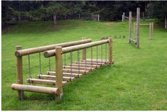 Wobble Step Bridge- Would be awesome to make for backyard playground