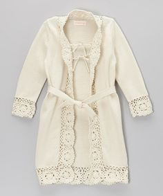 Look at this #zulilyfind! Ivory Crochet-Trim Duster - Toddler & Girls #zulilyfinds