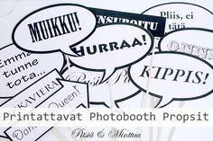 Pitsiä & Minttua - Hääblogi: Printattavat: Puhekuplat Photoboothiin