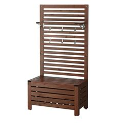 ÄPPLARÖ Bench w/wall panel + shelf, outdoor, brown stained - IKEA Patio Balcony Ideas, Condo Balcony, Small Balcony Decor, Privacy Walls, Hot Tub Privacy, Privacy Planter, Balcony Privacy Screen, Ikea Applaro, Small Porch Decorating