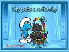 My pets are family Smurf Village, Blue Magic, Yorkies, Disney Characters, Fictional Characters, Gifs, Snoopy, Drawings, Art