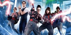 Kate McKinnon, Chris Hemsworth, Melissa McCarthy, Kristen Wiig and Leslie Jones in a promotional poster of 2016's comedy action film Ghostbusters #allfemalecast #movie #women #funny #whoyagonnacall