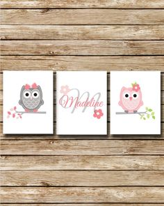 Custom Nursery Print - Pink Owls