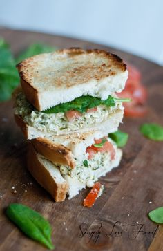 Toasted Pesto Chicken Salad Sandwich by simplylovefood #Sandwich #Chicken #Pesto