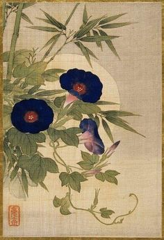 heaveninawildflower: Silk painting of flowers by Okamoto Shūki (Japan, from an album of pictures of birds and flowers.Image and text courtesy LACMA Art And Illustration, Japan Painting, Silk Painting, Art Floral, Fleurs Art Nouveau, Art Chinois, Illustration Botanique, Art Asiatique, Art Japonais
