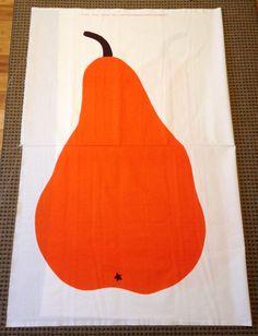 "Marimekko pear panel 56"" x 32"" rare orange cotton, new with selvage  #Marimekko"
